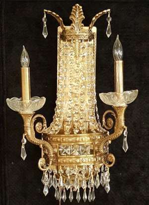 Brass and Crystal Sconce