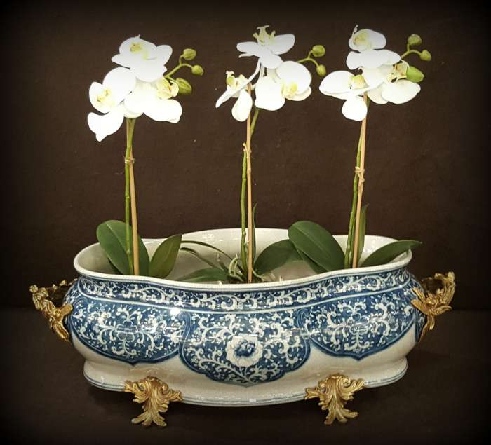 Blue and White Porcelain Basin with Brass Appointments